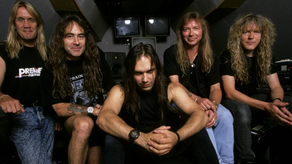 UNITED KINGDOM - JANUARY 01: BARNYARD STUDIOS Photo of Blaze BAYLEY and Dave MURRAY and IRON MAIDEN and Nicko McBRAIN and Steve HARRIS and Janick GERS, L-R: Nicko McBrain, Steve Harris, Blaze Bayley, Dave Murray, Janick Gers - posed, group shot in Steve Harris's studio (Photo by Mick Hutson/Redferns)